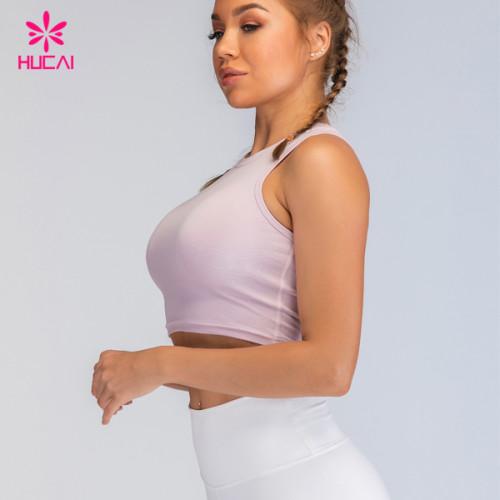 Custom Woman Sportswear Nylon Spandex Crop Top Sports Bra With Cups