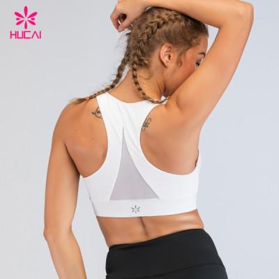Hucai Custom Lycra Sportswear Yoga Jockey High Support Crop Sports Bra Mesh