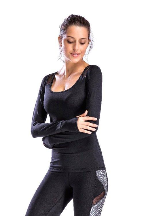 Wholesale Women Black Long Sleeve T Shirt-China T Shirt Supplier