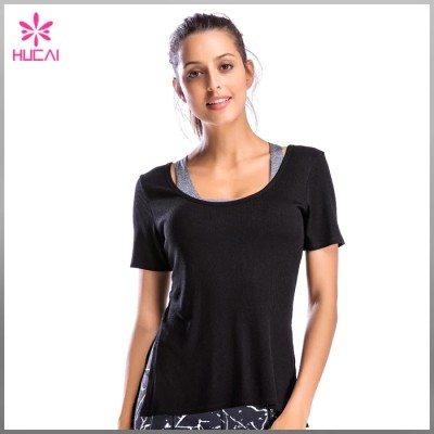 Wholesale Round Neck Backless Loose Fit Women Ribbed Short Sleeve Shirt