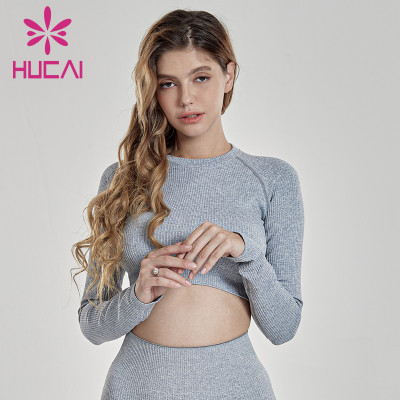 Custom Women Long Sleeve Crop T Shirt Manufacturer-China Clothing Supplier