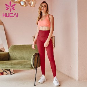 Wholesale Gym Ladies Pink Tank Tops And Red Text Printing High Waist Leggings Suit Custom Supplier