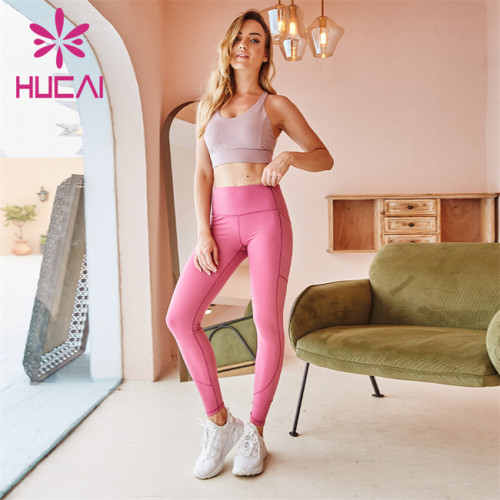 Customized Gym Ladies Grey Sports Bra And Pink Striped High Waist Leggings Wholesale Supplier