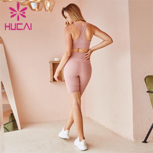 Wholesale Sportswear Apparel Light Gray Sports Underwear And Shorts Set