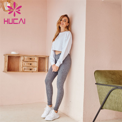 Wholesale Sportswear Apparel White Loose Long-Sleeved Embroidered Sports Top And Gray Printed Yoga Pants