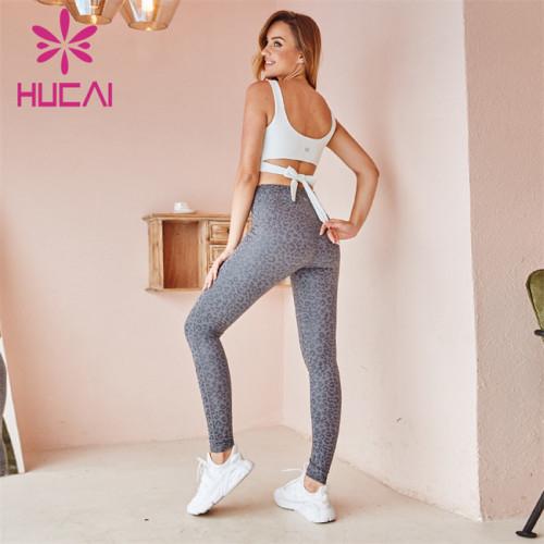 Wholesale Sportswear Apparel White Sports Tank Top And Grey Printed Yoga Pants