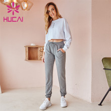 Wholesale Sportswear Apparel White Long-Sleeved Top And Gray Loose-Fitting Sweatpants