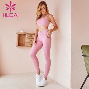 Wholesale Sportswear Apparel Pink Sports Underwear And Pink Yoga Pants Set