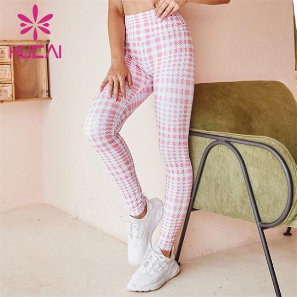 Custom High-waist Check Print Sports Tights