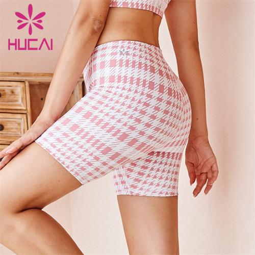 Customized Wholesale Check Print Cycling Shorts