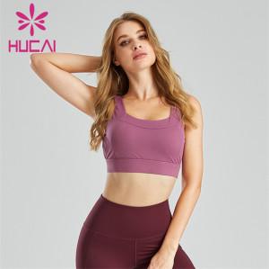Wholesale Purple Backless Fitness Running Sports Bra