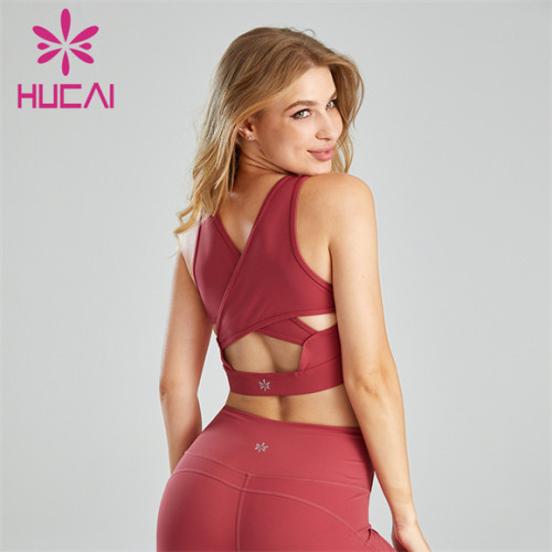 Hot Selling Sexy Solid Color Deep V Sports Bra Wholesale