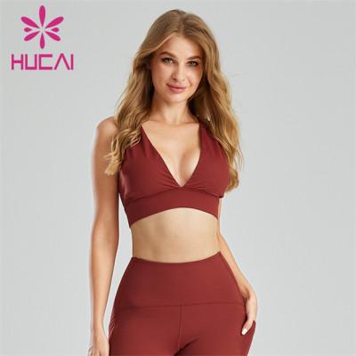 Sexy Crimson Deep V Sports Bra Wholesale Supplier
