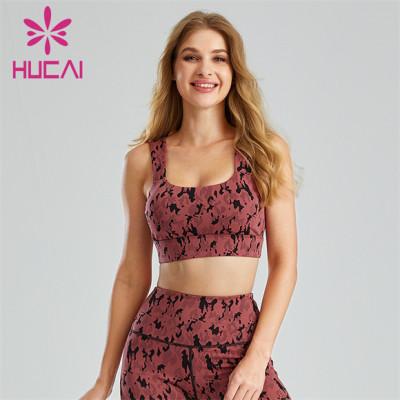Customized Fashion Camouflage Jacquard Print Sports Bra