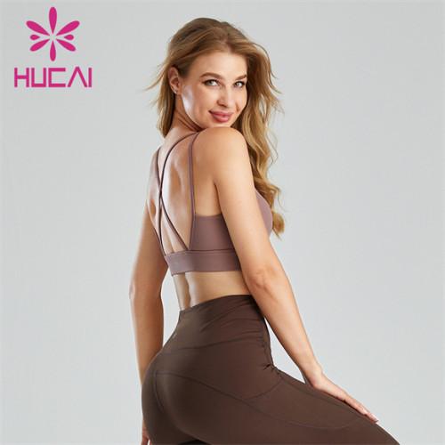 Pure Color U-shaped Gather Halter Sports Bra Wholesale