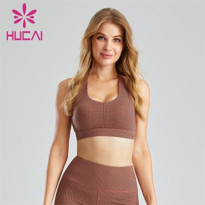 Houndstooth Pattern Digital Printing Fitness Sports Bra Custom