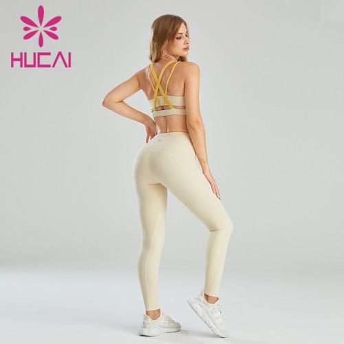Gym Sportswear Wholesale Contrast Color Shoulder Strap Sports Bra Set