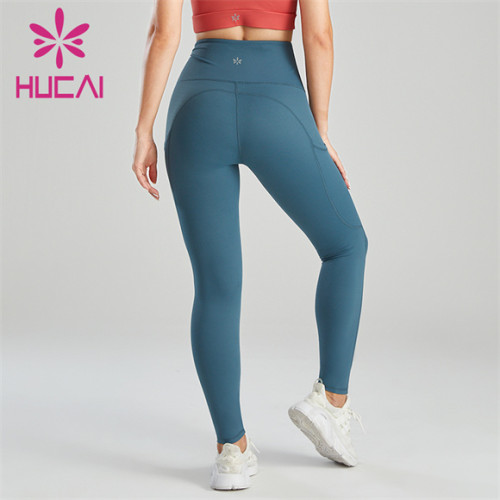 Ladies Blue High Waist Belt Pocket Design Leggings Wholesale