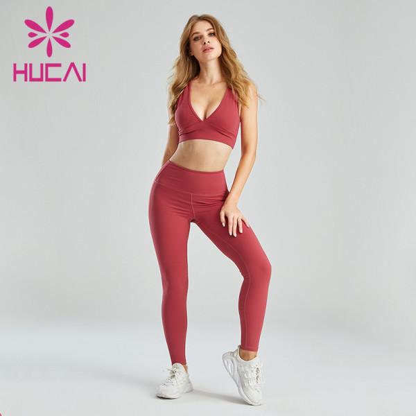 Wholesale Workout Clothes China V-Neck Sports Bra Set