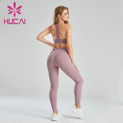 Wholesale For Fitness Clothes Racer Back Hollow Sports Bra Set