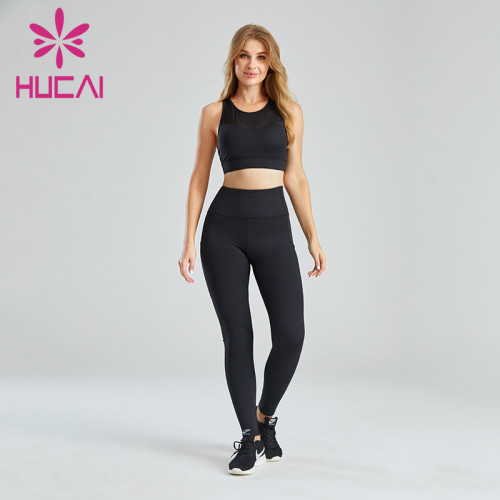 Wholesale Private Label Fitness Clothing Mesh Stitching Design