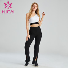 Wholesale Athleisure Wear One-Shoulder Sports Bra And Flared Pants