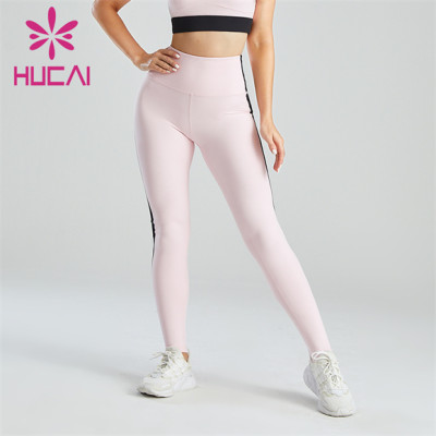 Fashion Pink And Black Stitching High Waist Leggings Customization