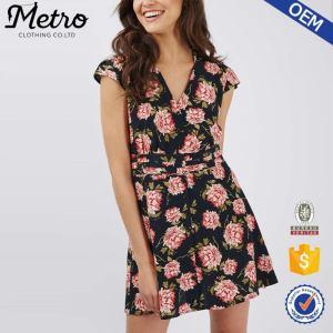 Wholesale Women Fashionalbe Rayon Floral Print Dress Bodycon Deasigns UK