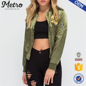 Ladies'Satin Tiger embroidered Bomber Jacket with cargo pocket women bomber