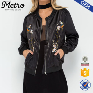 Ladies' OEM design floral Embroidered Bomber Jacket women custom bomber