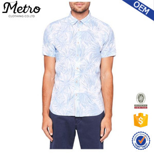Men short sleeve print casual shirt oem print custom shirt