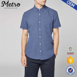 Men short sleeve cross pattern casual shirt OEM custom shirts