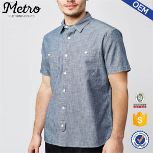 Men oem wholesale short sleeve casual oxford shirt new design shirt