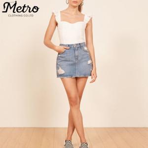 OEM women blue jean denim hole in short skirts