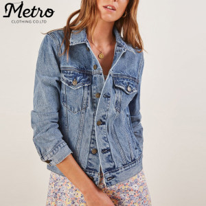 OEM new fashion women hip length denim jackets  jean jacket outfit
