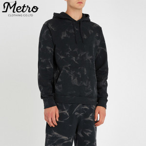 OEM mens tie dye printed 100% cotton active french terry hoodies