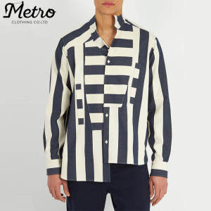 OEM Custom Fashion Mens Asymmetric Striped Shirts
