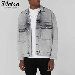 2018 Fashion OEM Custom Mens Grey Trucker Washed Denim Jackets