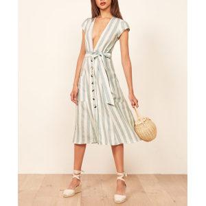 Wholesale womens fashion wear v-neckline midi long sexy dresses