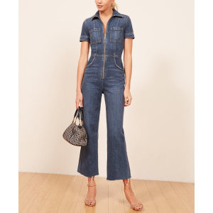 Wholesale womens short sleeves stright cropped denim jumpsuits