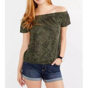 Custom Women Cold Shoulder Smocking Printed T Shirts