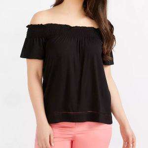Custom Women Black Cold Shoulder Smocking T Shirts