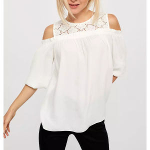 Custom Women Cold Shoulder Blouse with Crochet Yoke