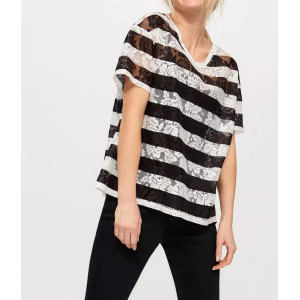 Custom Women V-neck Flower Lace Striped T Shirts