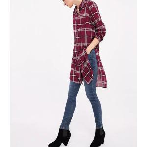 Custom Women Casual Overlong Checked Shirts