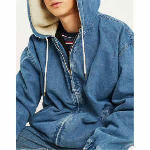 Wholesale Mens Fleece Lining Hooded Worker Denim Jackets
