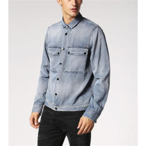 OEM Wholesale Mens Washed Denim Overshirt Jackets