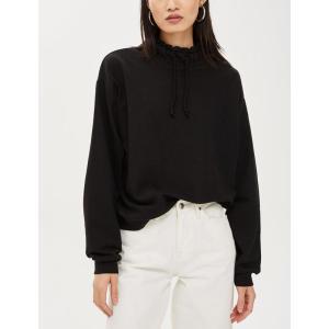 Wholesale womens funnel neck black sweatshirts hoodies
