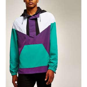 Wholesale womens color block oversized windbreaker jackets
