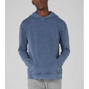 Wholesale mens bule washed pullover denim hoodies sweatshirts